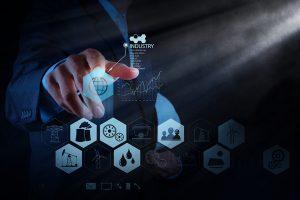 Engineer Works Industry Diagram On Virtual Computer