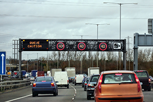 long delays on a moterway in United Kingdom